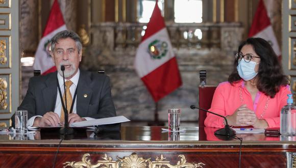 El jefe de Estado Francisco Sagasti junto a su Consejo de Ministros dieron a conocer las nuevas medidas para enfrentar el rebrote por coronavirus en Perú. (Foto: Twitter @presidenciaperu)