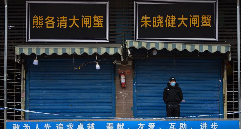 Un guardia de seguridad resguarda el mercado mayorista de mariscos de Huanan, en Wuhan, donde se detectó el coronavirus. (Foto de Hector RETAMAL / AFP).