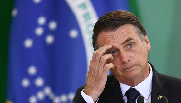 El presidente de Brasil, Jair Bolsonaro, pronuncia un discurso en Brasilia, el 7 de enero de 2019. (AFP / EVARISTO SA).