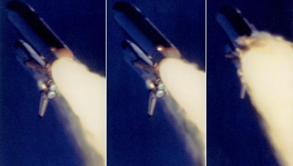 Fotos secuenciales, emitidas el 15 de febrero de 1986, tomadas por la NASA durante el catastrófico vuelo del transbordador espacial Challenger, el 28 de enero de 1986, muestran una columna de fuego que sale del propulsor de cohete sólido derecho y crece hacia una explosión. (Foto: NASA / AFP)