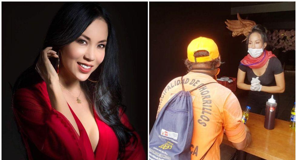 Patty Wong dona comida de su restaurante para trabajadores de limpieza.
