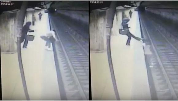 Mujer es empujada a las vías del tren y muere arrollada (VIDEO)