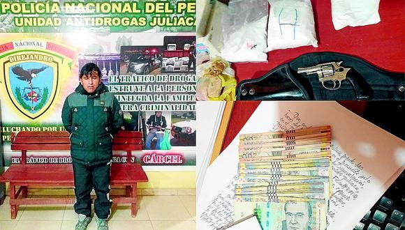 Mototaxista agrede a su pareja y PNP halla arma, droga y dinero en su casa