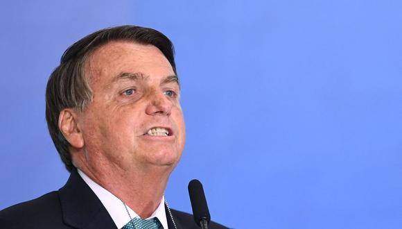 El presidente de Brasil, Jair Bolsonaro, pronuncia un discurso en el Palacio de Planalto. (Foto referencial: EVARISTO SA / AFP).