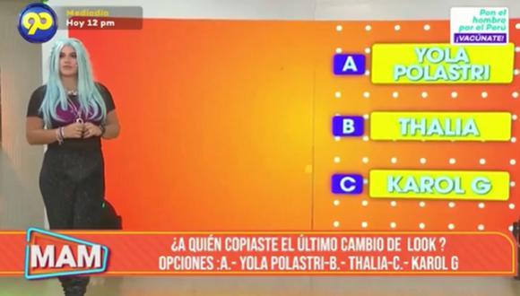 Macarena Vélez y su reacción al ser comparada con Yola Polastri por su nuevo look. (Foto: Captura Latina).