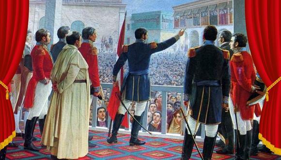 Fiestas Patrias. Pintura icónica que muestra al general San Martín proclamando la Independencia del Perú, el 28 de julio de 1821.  Autor: Juan Lepiani (1904).