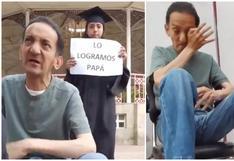 """Graduada sorprende a su padre lustrabotas con conmovedor gesto: """"Lo logramos papá"""" (VIDEO)"""