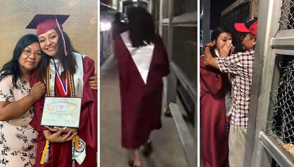 Graduada cruzó la frontera de Estados Unidos vestida con su toga para abrazar a su papá que fue deportado (VIDEO)