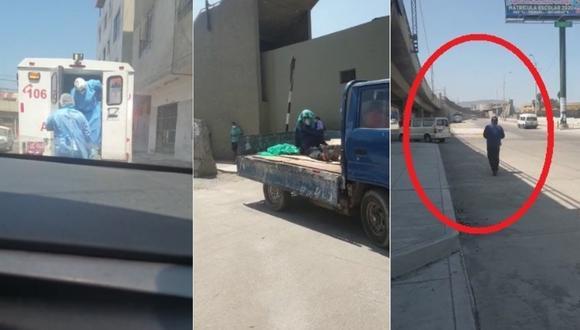 El hombre de 49 años siendo abandonado por la ambulancia, subido en un camión y caminando para pedir atención médica. Foto: Correo