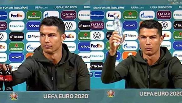 Cristiano Ronaldo retiró las botellas de Coca Cola y las cambió por agua previo al Portugal vs. Hungría. (Captura: Eurocopa)