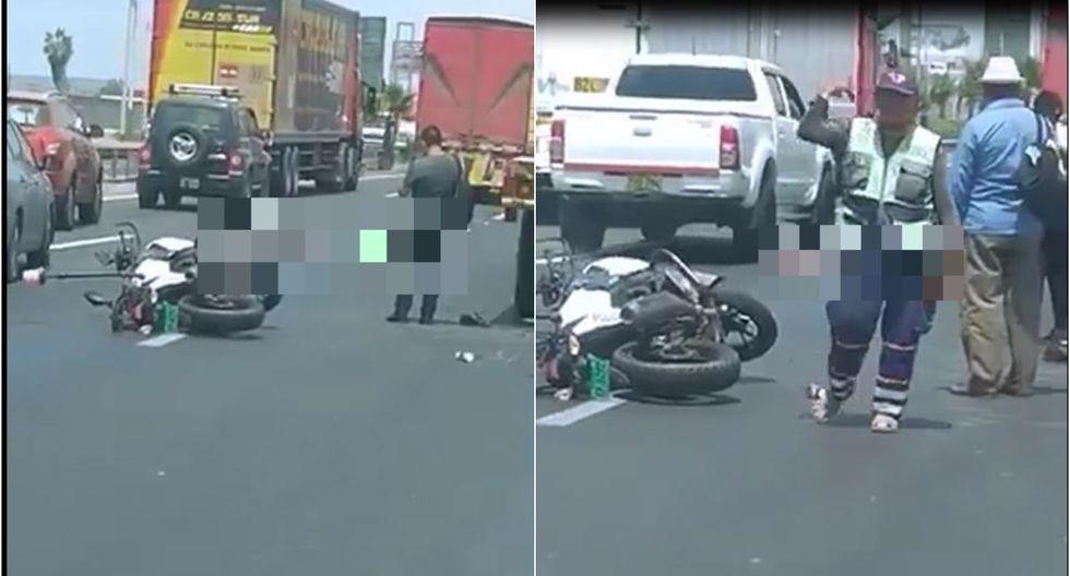 Lurín: policía fallece tras ser impactado por camión en Panamericana Sur