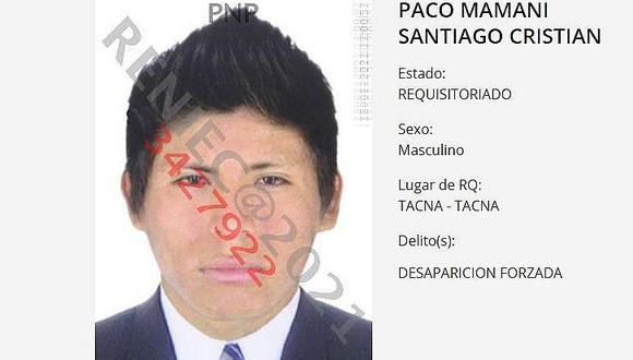 Piden 30,000 soles por captura de policía Santiago Paco