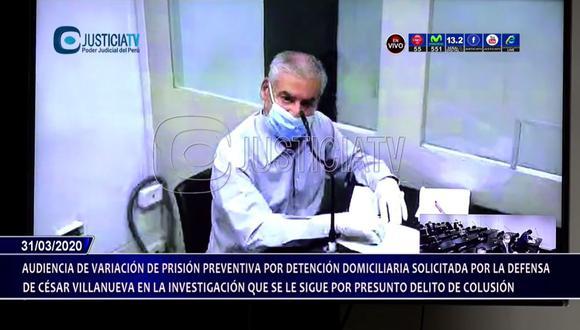 César Villanueva participó en la audiencia luciendo mascarilla y guantes. (Captura Justicia TV)