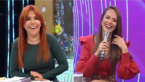 Magaly Medina y Jossmery Toledo riéndose en una entrevista.   Foto: Magaly TV: La Firme.
