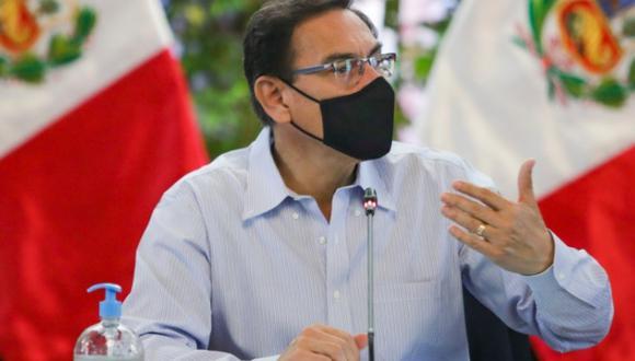 El presidente Martín Vizcarra emitió un pronunciamiento al país este lunes. (Foto: Presidencia)