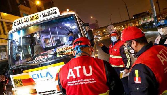 Desde la reactivación económica, la ATU ha realizado 249 acciones de fiscalización en 62 puntos de 25 distritos de Lima y Callao. (ATU)