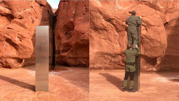 El monolito descubierto en pleno desierto mide más de 3 metros.   Foto: EFE