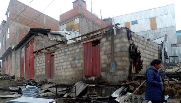 La vivienda quedó hecha cenizas en La Rinconada.