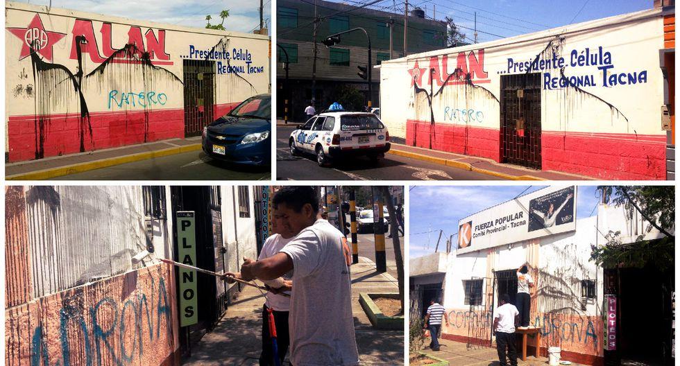 Perú vota 2016: locales de campaña del Apra y el fujimorismo amanecieron pintados en Tacna