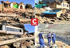 Fuerte oleaje destruye casas de playa en Máncora