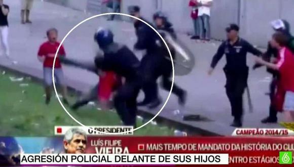 YouTube: Hincha del Benfica recibe paliza de Policía frente a sus hijos (VIDEO)