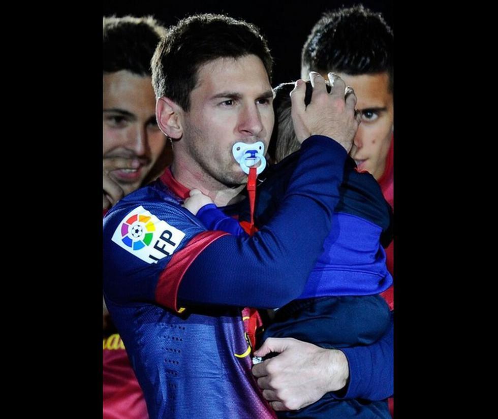 Messi celebró campeonato con su hijo Thiago