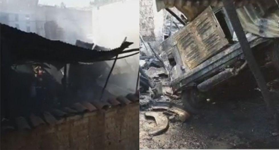 Incendio en taller de mecánica causó pánico en pobladores de Huamachuco