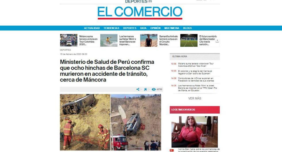 Un autobús que transportaba a hinchas del club de Barcelona de Guayaquil de regreso a casa de un partido de Copa Libertadores en Lima volcó este sábado en una ruta del norte de nuestro país, con el saldo de ocho muertos y casi 40 heridos. (El Comercio).