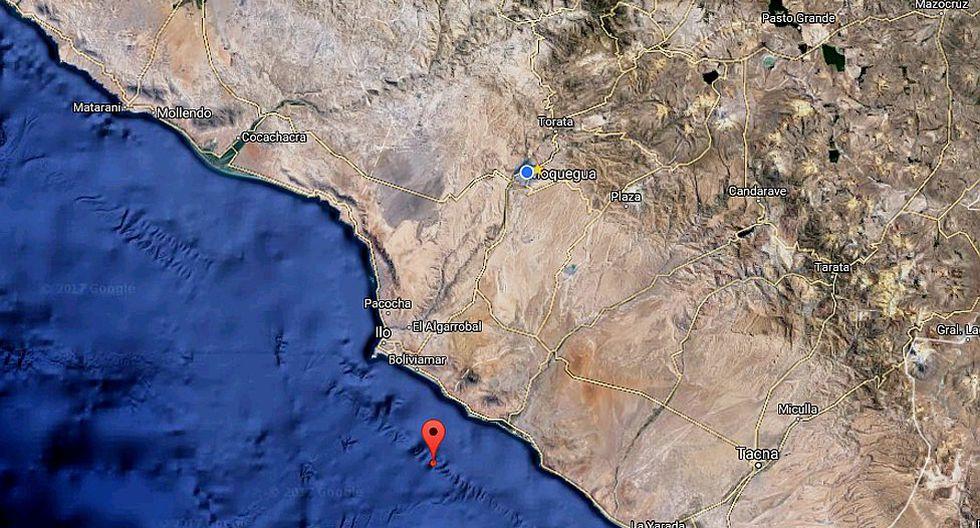 Se registra un sismo al sureste de la provincia de Ilo