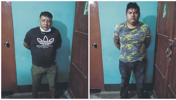"""Feder Paul Armas Balladares y Gustavo Alejandro Arcela Merino fueron evacuados al hospital JAMO. En operativo, la PNP detiene a dos presuntos integrantes de """"Los Bolongos""""."""