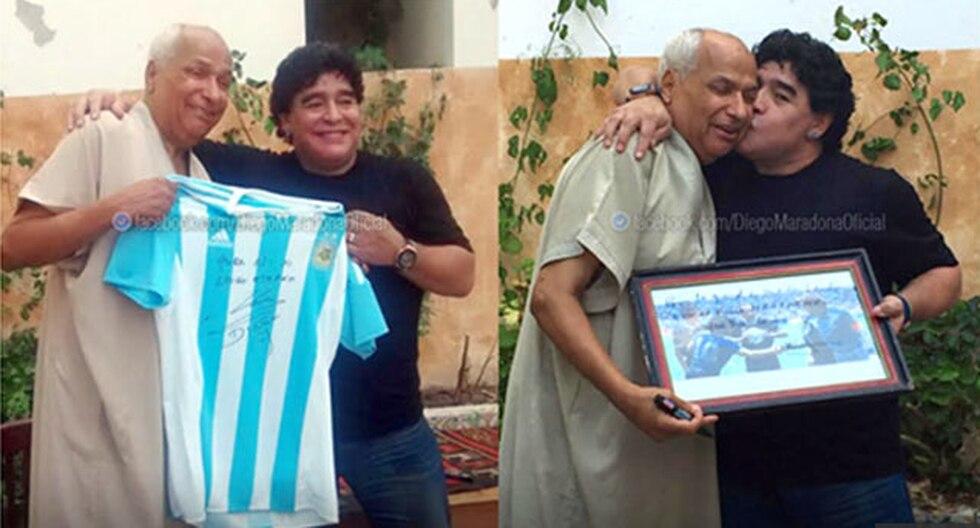 """Diego Maradona intercambia regalos con árbitro que no vio """"la Mano de Dios"""""""