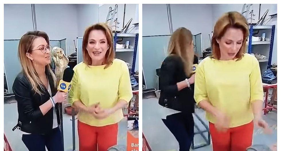 Reportera destruye por accidente una escultura en plena entrevista (VIDEO)