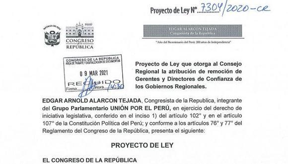 El proyecto de Ley fue presentado por Edgar Alarcón.