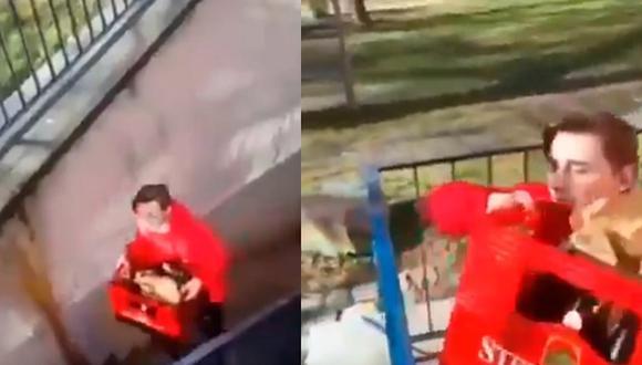 Jovencito sufre accidente y arriesga su vida para salvar una caja de cervezas