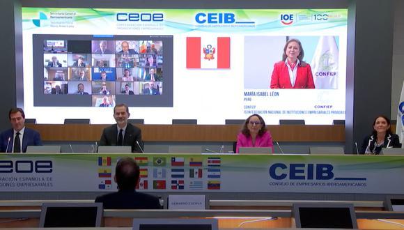 La presidenta de la Confederación Nacional de Instituciones Empresariales Privadas (CONFIEP), María Isabel León, participó en una reunión de trabajo liderada por el rey Felipe VI de España