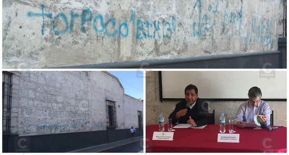 Arzobispado de Arequipa denuncia pintas en fachada de la Pastoral Juan Pablo II