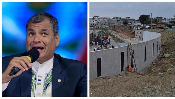 """Rafael Correa cuestiona """"entreguismo"""" de Ecuador por detener construcción de muro en frontera con Perú"""
