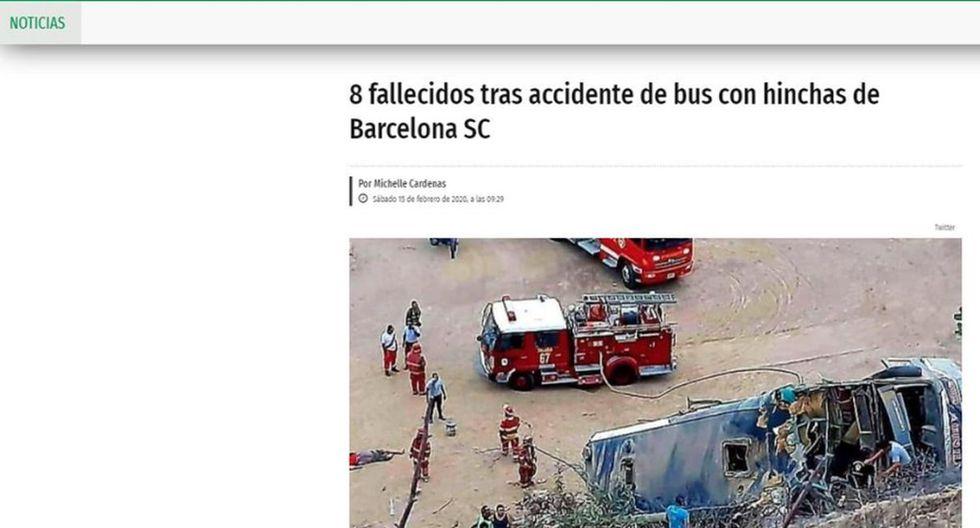"""El Metro de Ecuador anunció la noticia de la siguiente forma: """"8 fallecidos tras accidente de bus con hinchas de Barcelona SC"""". (El Metro)."""