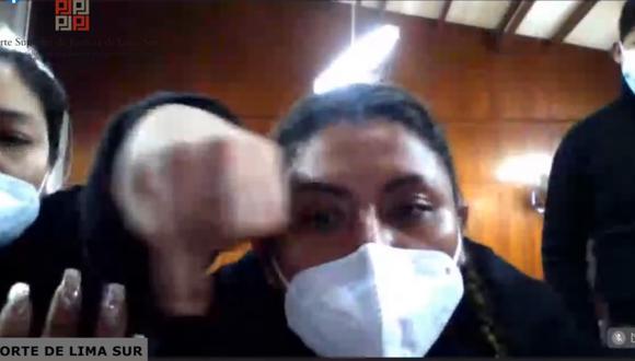 María Cristina Nina Garnica, exalcaldesa de San Juan de Miraflores.   Foto: Captura de pantalla.