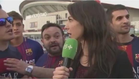 Reportera se hizo respetar ante acoso de hinchas del Barcelona (VIDEO)