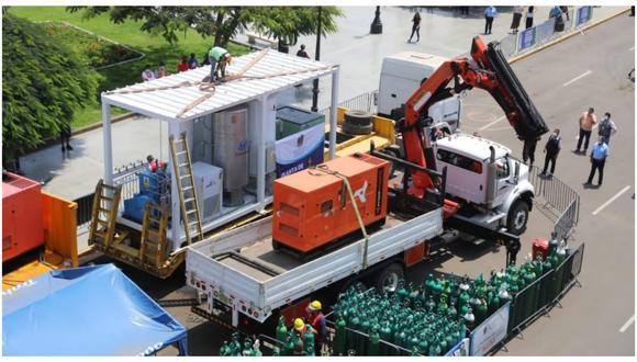 Equipo generador se colocó en el frontis de la Plaza Mayor de Trujillo y permitirá que el servicio de llenado de balones se agilice. El alcalde José Ruiz señaló que atenderán las 24 horas del día.