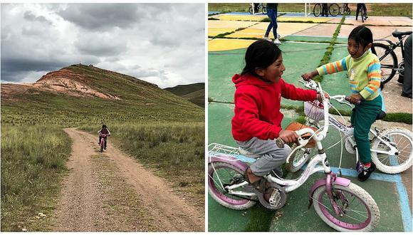 Universitarios ayudan a niños de Puno con bicicletas para que puedan trasladarse (VIDEO)