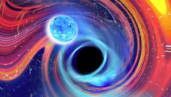 Uno de los eventos incluía un agujero negro con una masa nueve veces mayor que nuestro propio sol y una estrella de neutrones con una masa dos veces mayor que la de nuestro sol. La imagen que se aprecia es una creación artística inspirada en un evento de fusión de estrellas de neutrones y agujero negro. (CARL KNOX, OZGRAV / SWINBURNE / Europa Press)