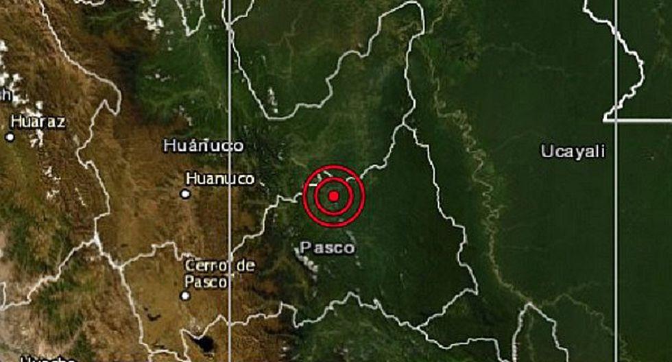 Sismo de magnitud 4.8 se registró esta tarde en Pasco