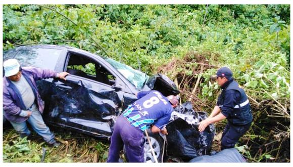 """Accidente de tránsito se registró en el sector """"El Chorro"""" con Chaclapampa, ubicado en el distrito de Usquil. (Foto: Municipio de Usquil)"""