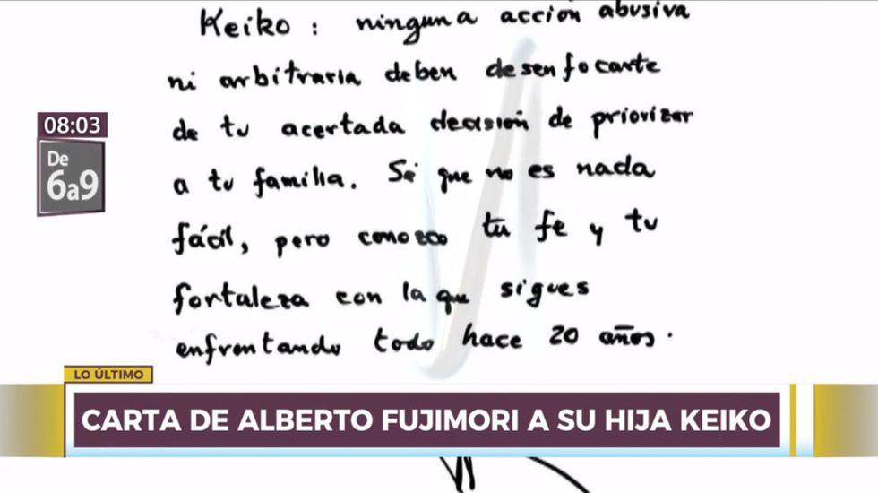 La carta de Alberto Fujimori está dirigida a su hija Keiko. (Captura: Canal N)
