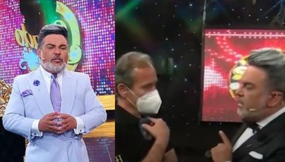 Andrés Hurtado se molesta con el productor de su programa sabatino. (Foto: @andreshurtadooficial/Captura Panamericana TV)