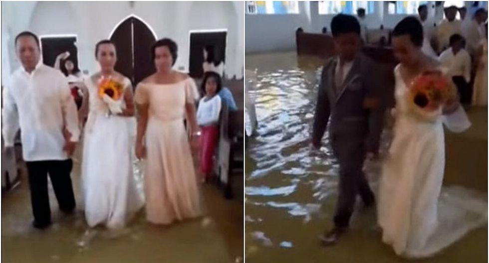 Viral: Iglesia quedó inundada por lluvias, pero no evitó que pareja se case (VIDEO)