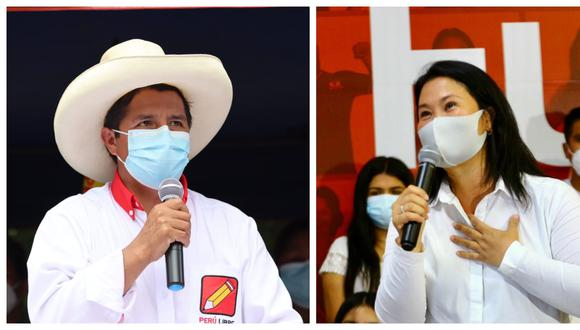Keiko Fujimori y Pedro Castillo debatirán presencialmente en un evento organizado por el JNE el domingo 30 de mayo.  (Fotos:  Perú Libre / Archivo El Comercio)