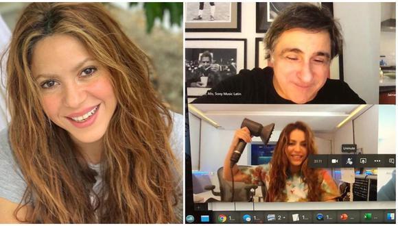 Shakira sorprende al secarse el cabello en plena videollamada con Sony Music. (Foto: Instagram)